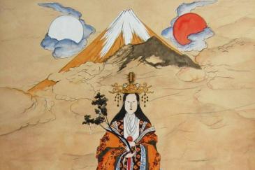 Representação de uma deusa da mitologia japonesa