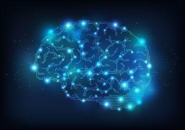 Cérebro digital formado por pequenos pedaços de circuitos